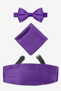 Purple Silk Royal Purple Pretied Bow Tie Cummerbund Set
