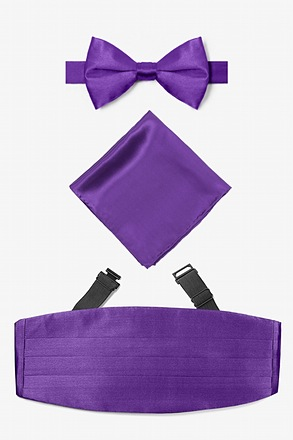 Royal Purple Pretied Bow Tie Cummerbund Set