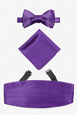 Royal Purple Self Tie Bow Tie Cummerbund Set