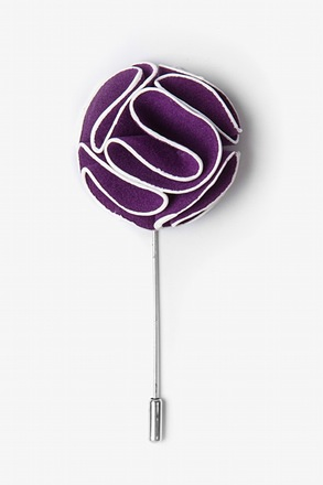 _Purple Piped Flower Lapel Pin_