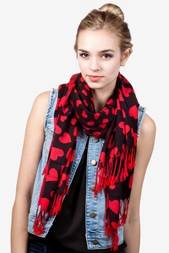 Hearts Red Pashmina