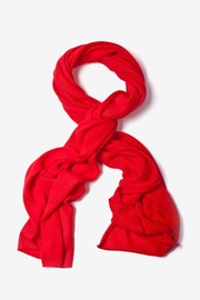 Red Acrylic Heathered Solid Knit Scarf