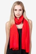 Heathered Solid Red Knit Scarf by Scarves.com