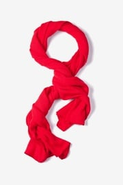 Red Acrylic Mens Heathered Solid Knit Scarf