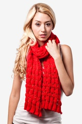 Red Acrylic Oslo Sparkle Solid Knit Scarf