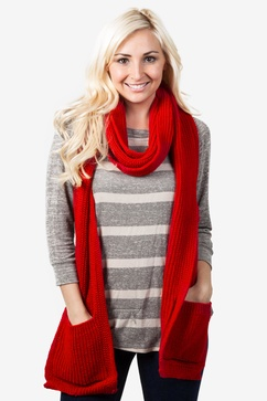 Pocket Red Knit Scarf