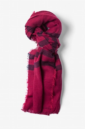 _Red Atlanta Stripe Knit Scarf_