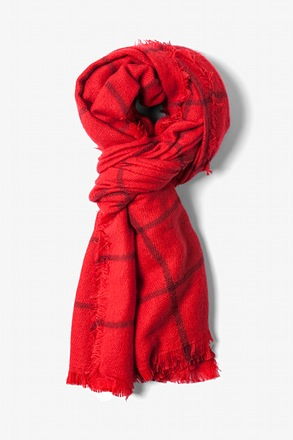 Red Cologne Gingham Scarf