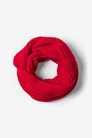 Red Acrylic Red Concord Knit Infinity Scarf