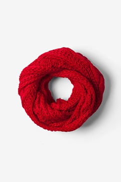 Red Geneva Cable Knit Infinity Scarf