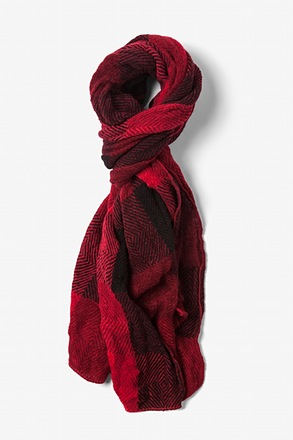 Red Rochester Check Scarf