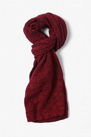 Red Seattle Striped Knit Scarf