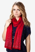 Rhinestone Sparkle Red Knit Scarf by Scarves.com