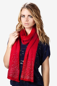 Rhinestone Sparkle Red Knit Scarf