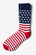 Red Carded Cotton American Flag Sock