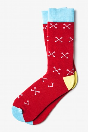 Crossed Arrows Red Sock