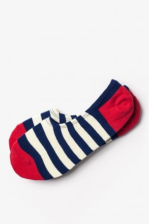 Seal Beach Stripe Red No-Show Sock