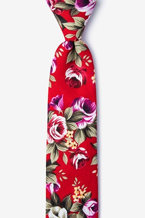 Abney Red Skinny Tie
