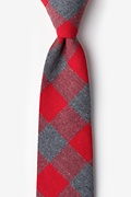 Red Cotton Kent Extra Long Tie