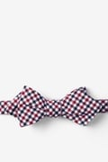 Red Cotton Markson Checks Diamond Tip Bow Tie