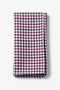 Red Cotton Markson Checks Pocket Square