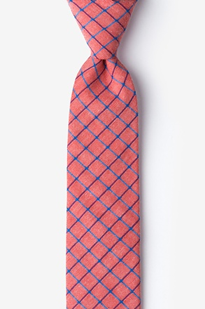 Red Stuart Check Skinny Tie