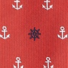 Red Microfiber Anchors & Ships Wheels Extra Long Tie
