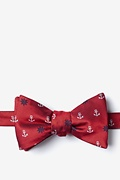 Red Microfiber Anchors & Ships Wheels Self-Tie Bow Tie