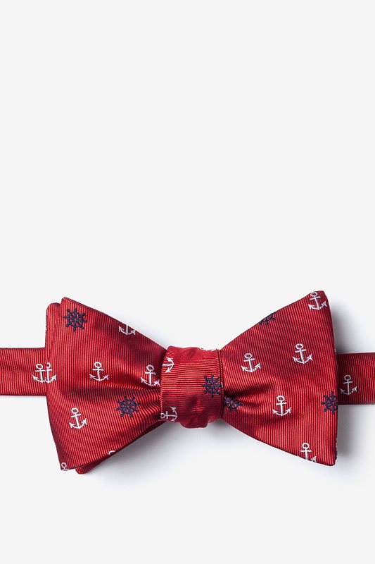 Anchors & Ships Wheels Red Self-Tie Bow Tie Photo (0)
