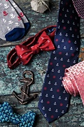 Anchors & Ships Wheels Red Self-Tie Bow Tie Photo (2)