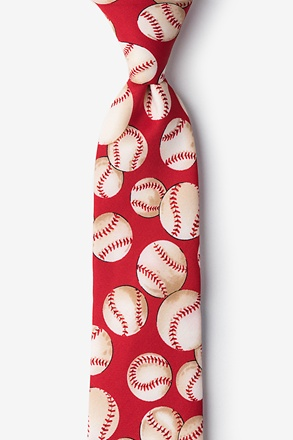 _Baseballs Red Tie For Boys_