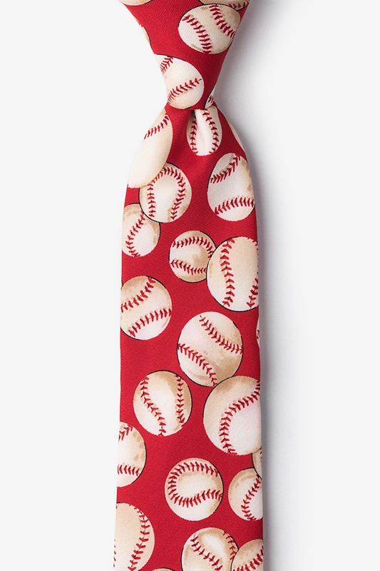 Baseballs Red Tie For Boys Photo (0)