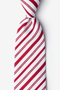 Red Microfiber Candy Cane Extra Long Tie