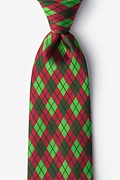 Red Microfiber Christmas Argyle Extra Long Tie