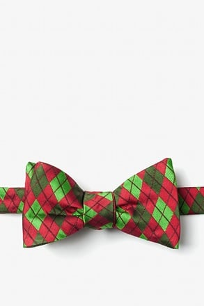 _Christmas Argyle Red Self-Tie Bow Tie_