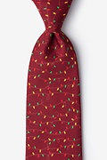 Red Microfiber Christmas Lights Extra Long Tie