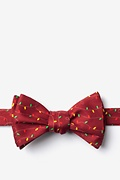 Red Microfiber Christmas Lights Self-Tie Bow Tie