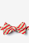 Red Microfiber Christmas Stripe Bow Tie