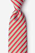 Red Microfiber Christmas Stripe Extra Long Tie