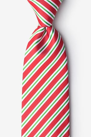 _Christmas Stripe Red Extra Long Tie_