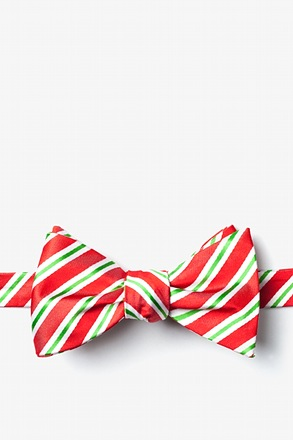 Christmas Stripe Red Self-Tie Bow Tie