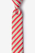 Red Microfiber Christmas Stripe Skinny Tie