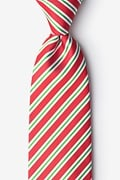 Red Microfiber Christmas Stripe Tie