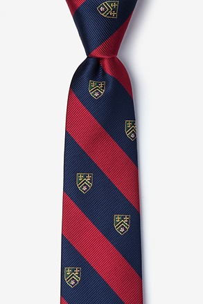 Collegiate Stripe With Crest Skinny Tie