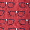 Red Microfiber Four Eyes Tie