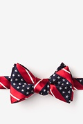 Red Microfiber Freedom Stripe Self-Tie Bow Tie