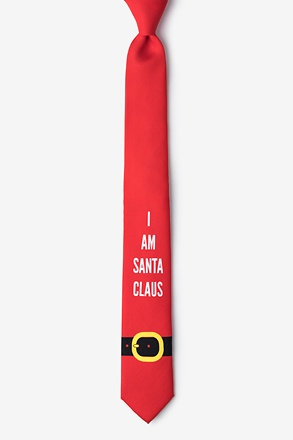 _I am Santa Claus Red Skinny Tie_
