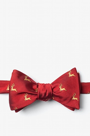 _Jumping Reindeer Red Self-Tie Bow Tie_