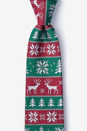 _Less Ugly Christmas Sweater Red Extra Long Tie_