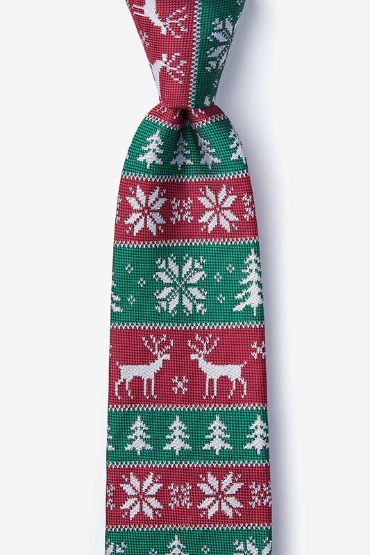 Less Ugly Christmas Sweater Red Extra Long Tie Photo (0)